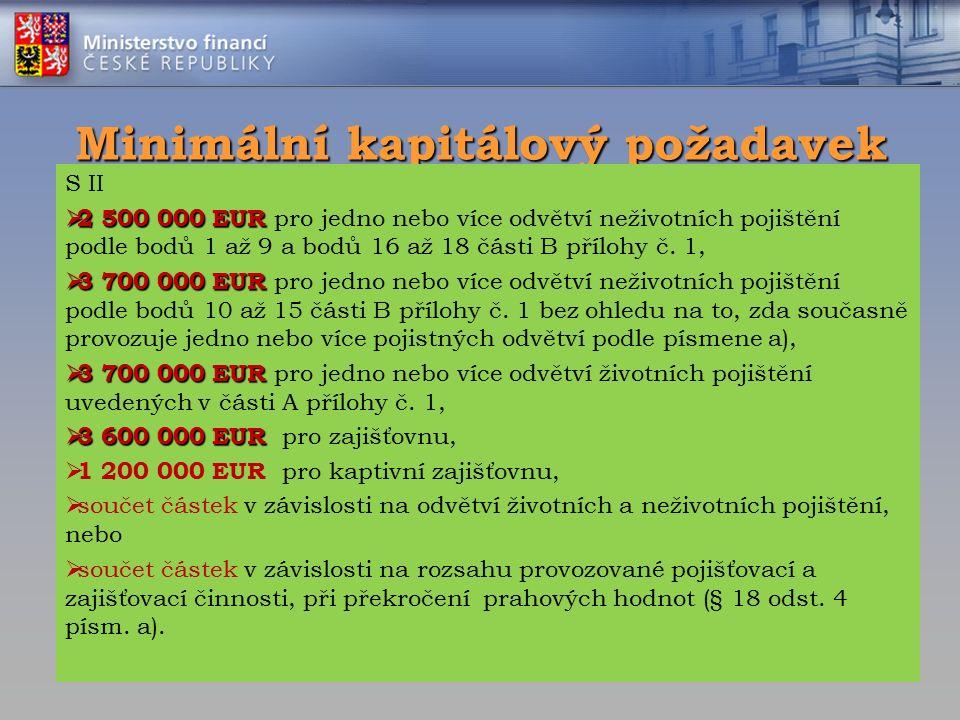 Minimální kapitálový požadavek S II  2 500 000 EUR  2 500 000 EUR pro jedno nebo více odvětví neživotních pojištění podle bodů 1 až 9 a bodů 16 až 18 části B přílohy č.
