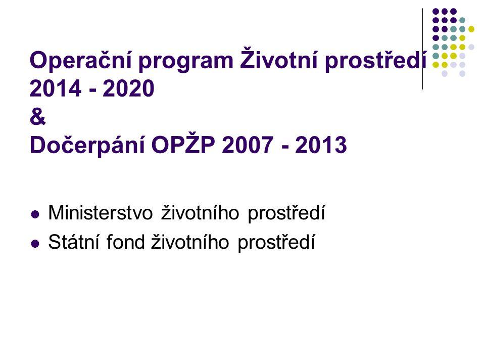 Operační program Životní prostředí 2014 - 2020 & Dočerpání OPŽP 2007 - 2013 Ministerstvo životního prostředí Státní fond životního prostředí