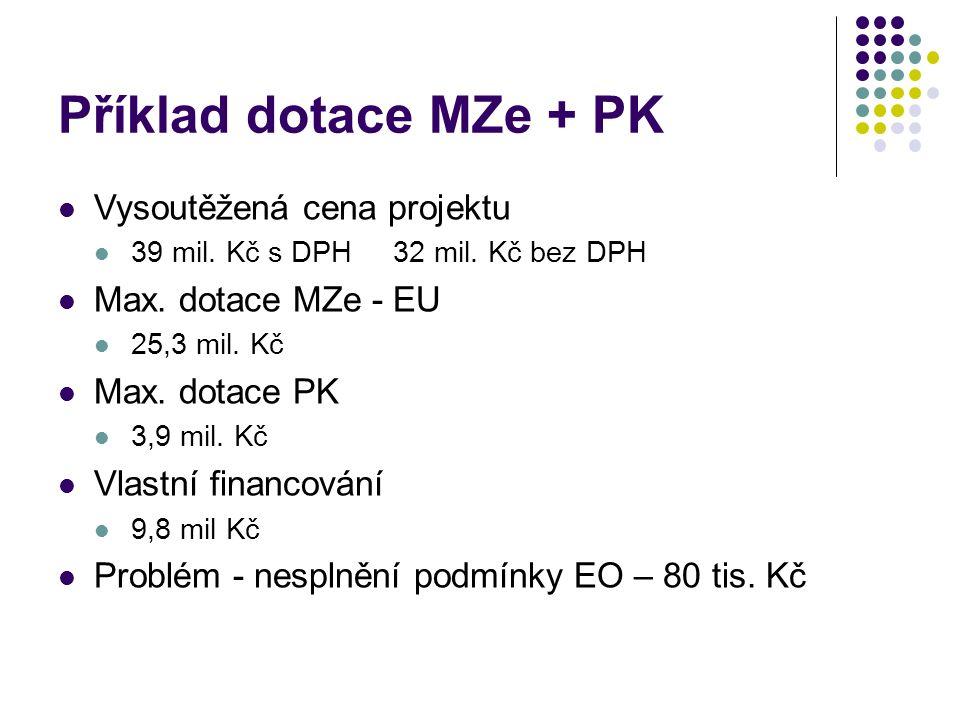 Příklad dotace MZe + PK Vysoutěžená cena projektu 39 mil.