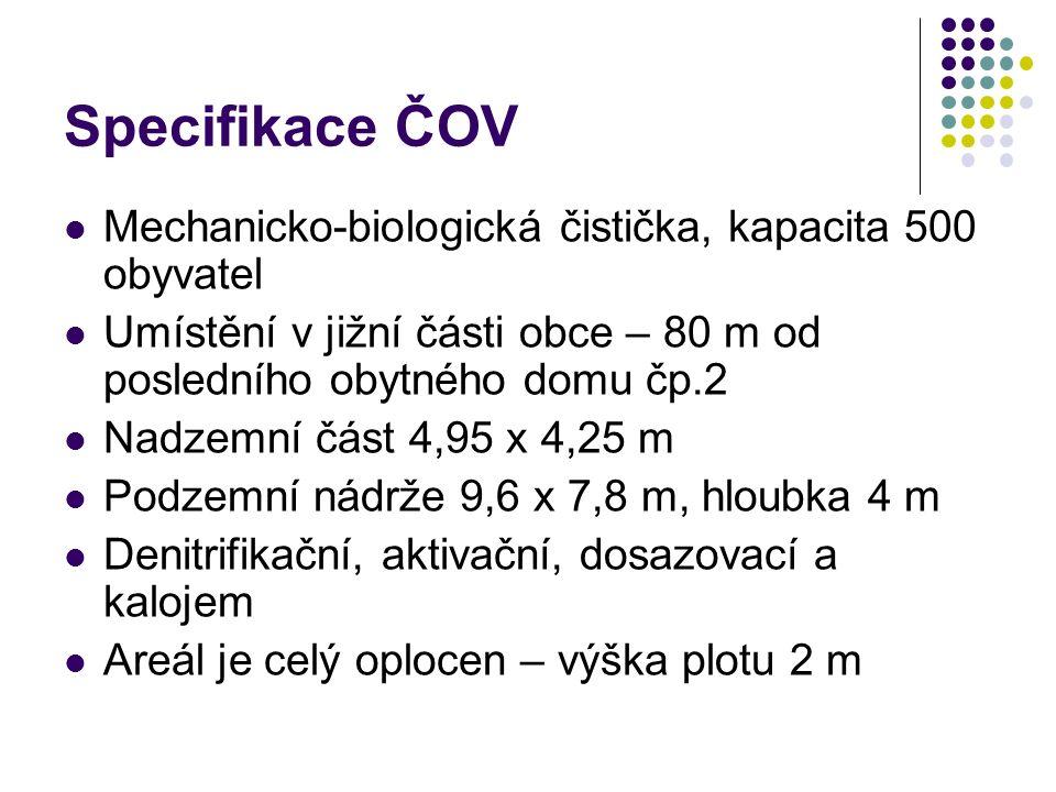 Specifikace ČOV Mechanicko-biologická čistička, kapacita 500 obyvatel Umístění v jižní části obce – 80 m od posledního obytného domu čp.2 Nadzemní část 4,95 x 4,25 m Podzemní nádrže 9,6 x 7,8 m, hloubka 4 m Denitrifikační, aktivační, dosazovací a kalojem Areál je celý oplocen – výška plotu 2 m