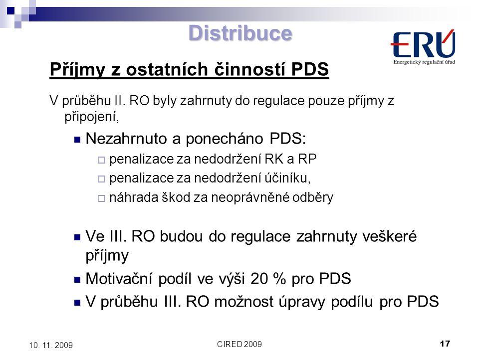CIRED 200917 10. 11. 2009 Distribuce Příjmy z ostatních činností PDS V průběhu II. RO byly zahrnuty do regulace pouze příjmy z připojení, Nezahrnuto a
