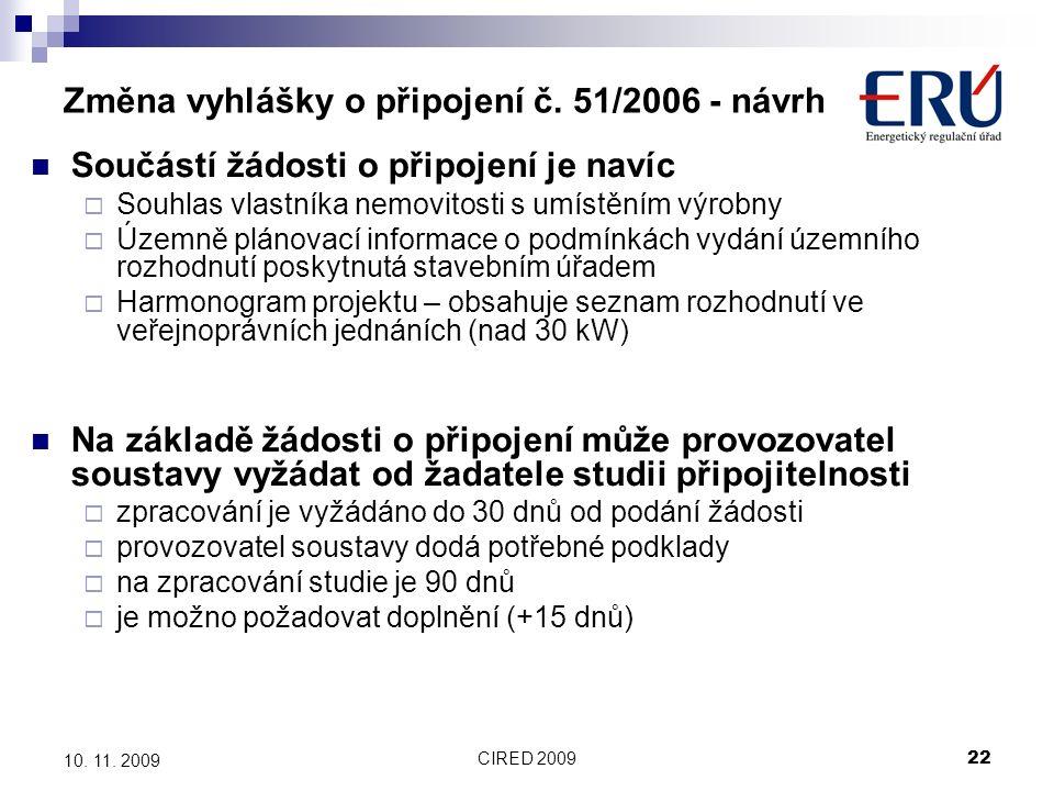 CIRED 200922 10. 11. 2009 Změna vyhlášky o připojení č.