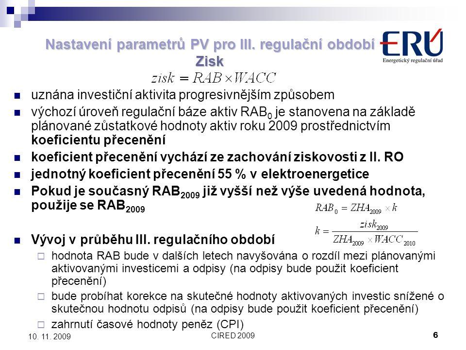 CIRED 20096 10. 11. 2009 Nastavení parametrů PV pro III. regulační období Zisk uznána investiční aktivita progresivnějším způsobem výchozí úroveň regu