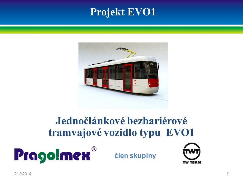 Projekt EVO1 Jednočlánkové bezbariérové tramvajové vozidlo typu EVO1 člen skupiny 21.9.20161