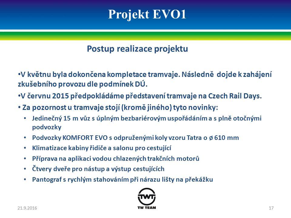 Projekt EVO1 Postup realizace projektu V květnu byla dokončena kompletace tramvaje. Následně dojde k zahájení zkušebního provozu dle podmínek DÚ. V če