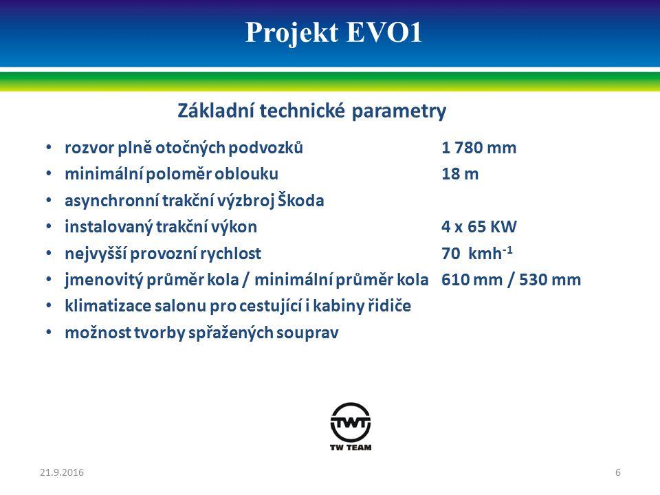 Projekt EVO1 Základní technické parametry rozvor plně otočných podvozků 1 780 mm minimální poloměr oblouku18 m asynchronní trakční výzbroj Škoda insta