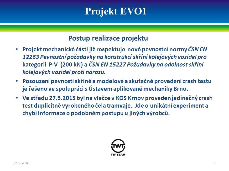 Projekt EVO1 Postup realizace projektu Projekt mechanické části již respektuje nové pevnostní normy ČSN EN 12263 Pevnostní požadavky na konstrukci skř