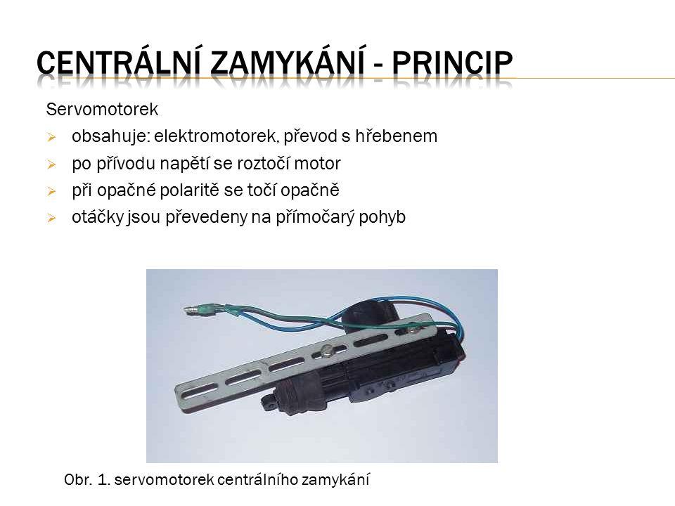 Servomotorek  obsahuje: elektromotorek, převod s hřebenem  po přívodu napětí se roztočí motor  při opačné polaritě se točí opačně  otáčky jsou převedeny na přímočarý pohyb Obr.