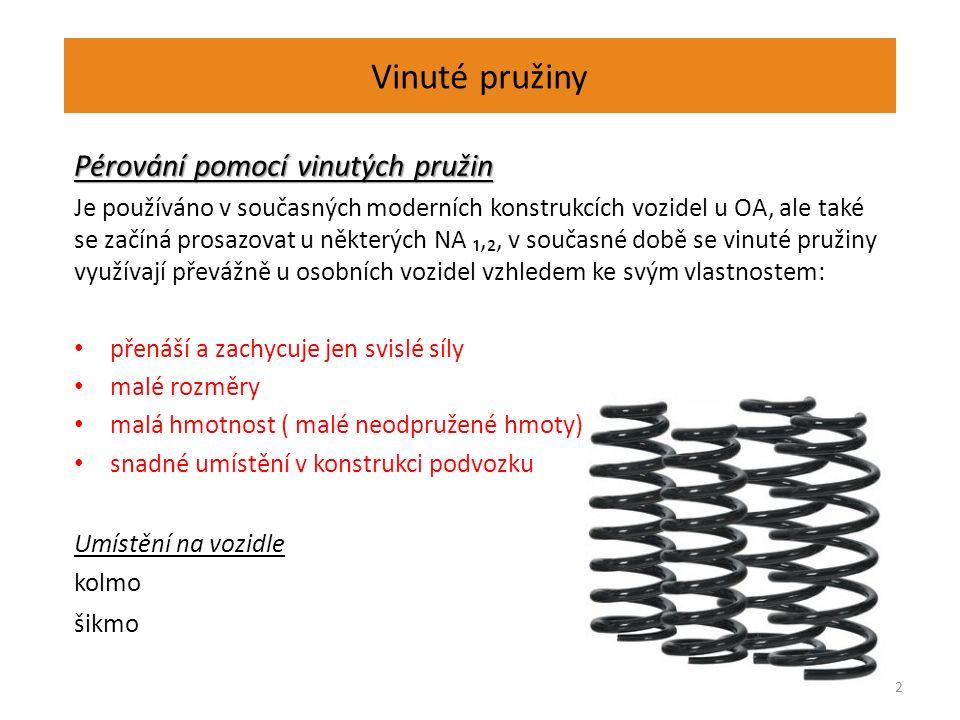 Vinuté pružiny Pérování pomocí vinutých pružin Je používáno v současných moderních konstrukcích vozidel u OA, ale také se začíná prosazovat u některých NA ₁,₂, v současné době se vinuté pružiny využívají převážně u osobních vozidel vzhledem ke svým vlastnostem: přenáší a zachycuje jen svislé síly malé rozměry malá hmotnost ( malé neodpružené hmoty) snadné umístění v konstrukci podvozku Umístění na vozidle kolmo šikmo 2