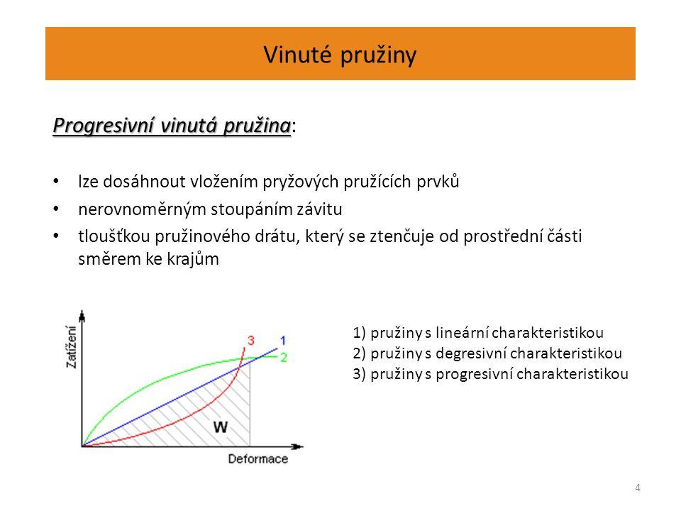 Vinuté pružiny Progresivní vinutá pružina Progresivní vinutá pružina: lze dosáhnout vložením pryžových pružících prvků nerovnoměrným stoupáním závitu tloušťkou pružinového drátu, který se ztenčuje od prostřední části směrem ke krajům 4 1) pružiny s lineární charakteristikou 2) pružiny s degresivní charakteristikou 3) pružiny s progresivní charakteristikou