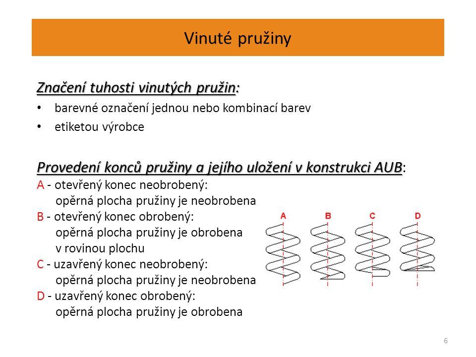 Vinuté pružiny Značení tuhosti vinutých pružin: barevné označení jednou nebo kombinací barev etiketou výrobce Provedení konců pružiny a jejího uložení v konstrukci AUB Provedení konců pružiny a jejího uložení v konstrukci AUB: A - otevřený konec neobrobený: opěrná plocha pružiny je neobrobena B - otevřený konec obrobený: opěrná plocha pružiny je obrobena v rovinou plochu C - uzavřený konec neobrobený: opěrná plocha pružiny je neobrobena D - uzavřený konec obrobený: opěrná plocha pružiny je obrobena 6