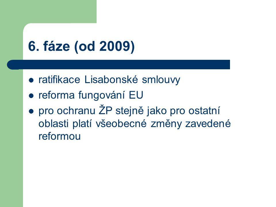 6. fáze (od 2009) ratifikace Lisabonské smlouvy reforma fungování EU pro ochranu ŽP stejně jako pro ostatní oblasti platí všeobecné změny zavedené ref