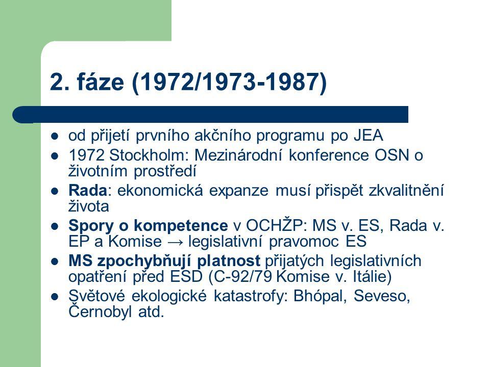 2. fáze (1972/1973-1987) od přijetí prvního akčního programu po JEA 1972 Stockholm: Mezinárodní konference OSN o životním prostředí Rada: ekonomická e