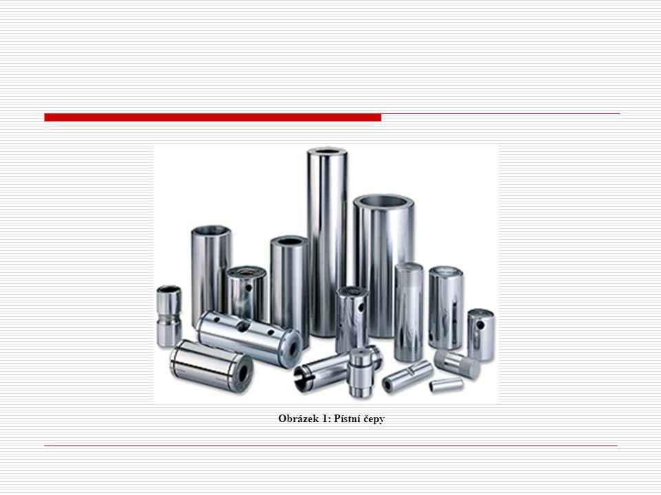 Materiál a výroba pístního čepu  cementační ocel  nitridační ocel  legovaná ocel Pístní čep se vyrábí obráběním, následně se jeho povrch kalí, brousí a leští.