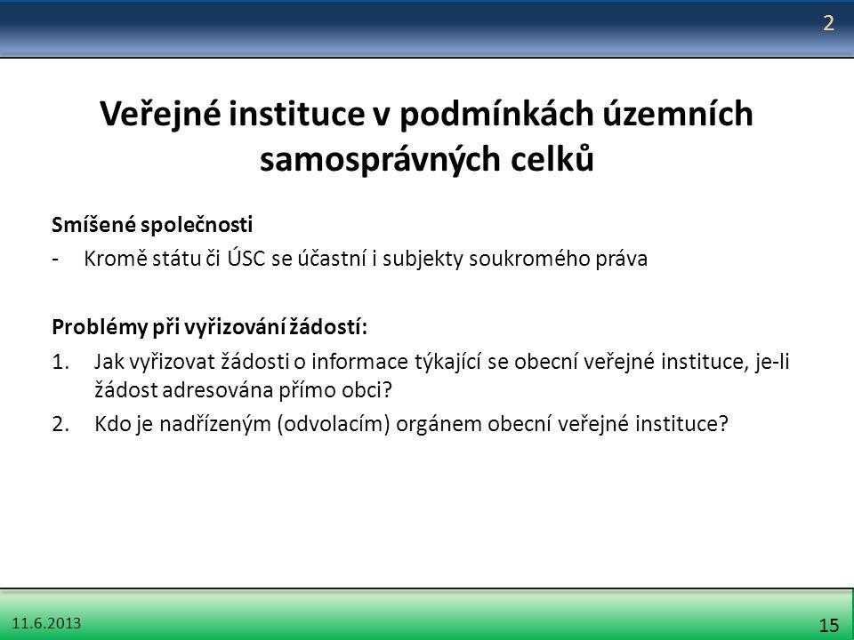 11.6.2013 15 Veřejné instituce v podmínkách územních samosprávných celků Smíšené společnosti -Kromě státu či ÚSC se účastní i subjekty soukromého práv