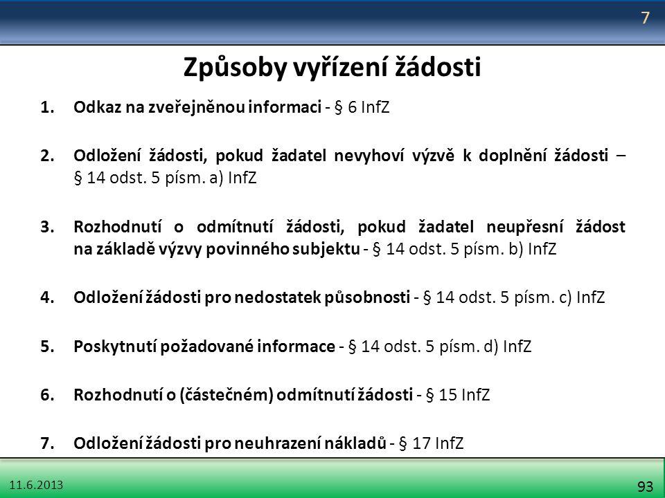 11.6.2013 93 Způsoby vyřízení žádosti 1.Odkaz na zveřejněnou informaci - § 6 InfZ 2.Odložení žádosti, pokud žadatel nevyhoví výzvě k doplnění žádosti