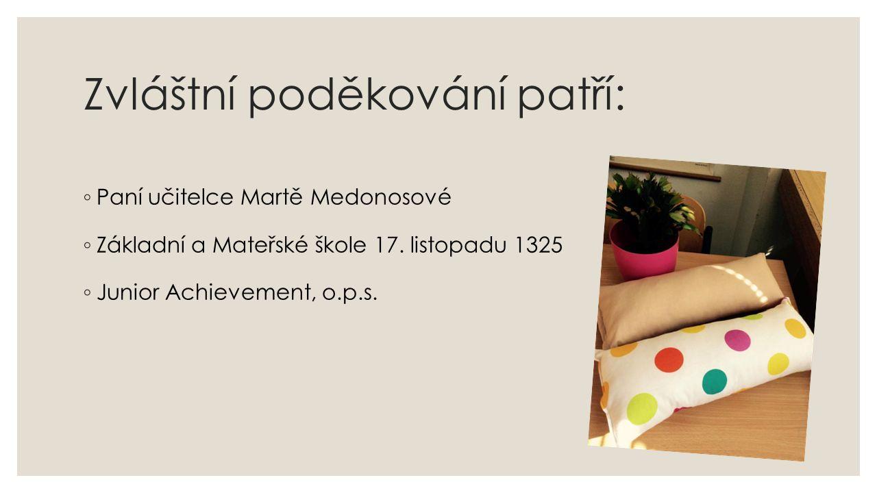 Zvláštní poděkování patří: ◦ Paní učitelce Martě Medonosové ◦ Základní a Mateřské škole 17. listopadu 1325 ◦ Junior Achievement, o.p.s.