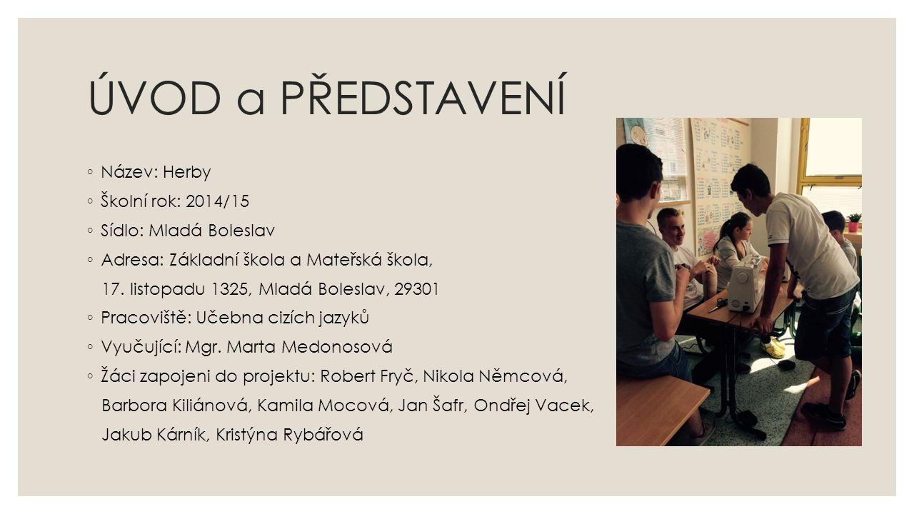 ÚVOD a PŘEDSTAVENÍ ◦ Název: Herby ◦ Školní rok: 2014/15 ◦ Sídlo: Mladá Boleslav ◦ Adresa: Základní škola a Mateřská škola, 17.