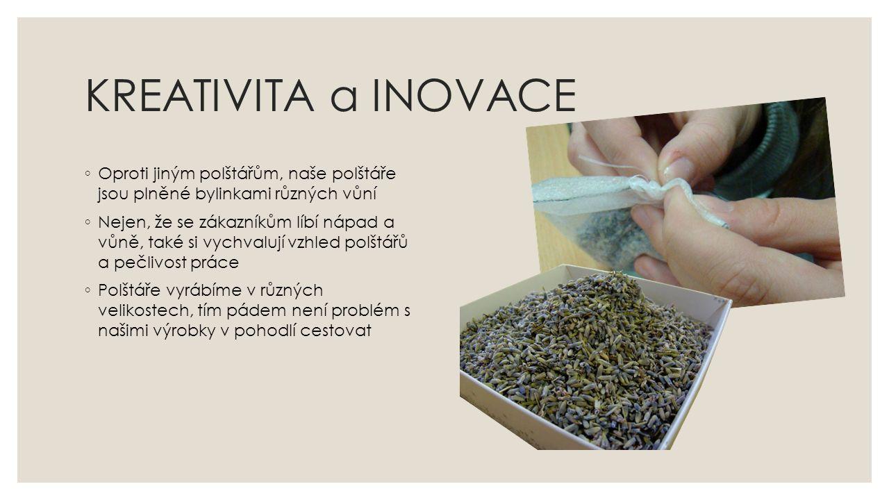 KREATIVITA a INOVACE ◦ Oproti jiným polštářům, naše polštáře jsou plněné bylinkami různých vůní ◦ Nejen, že se zákazníkům líbí nápad a vůně, také si v