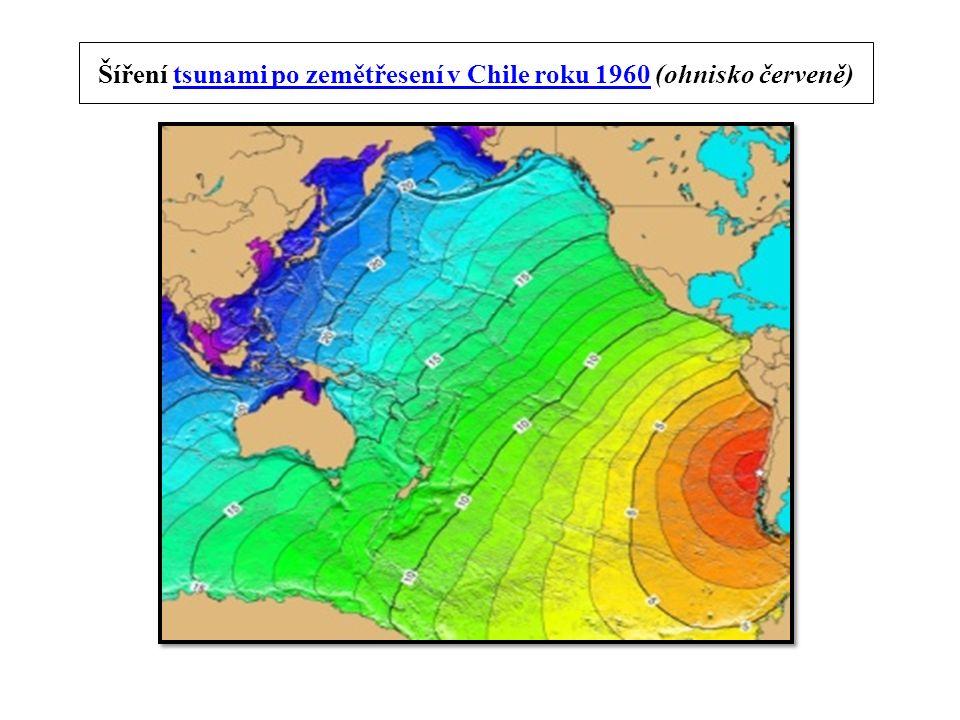 Šíření tsunami po zemětřesení v Chile roku 1960 (ohnisko červeně)tsunami po zemětřesení v Chile roku 1960