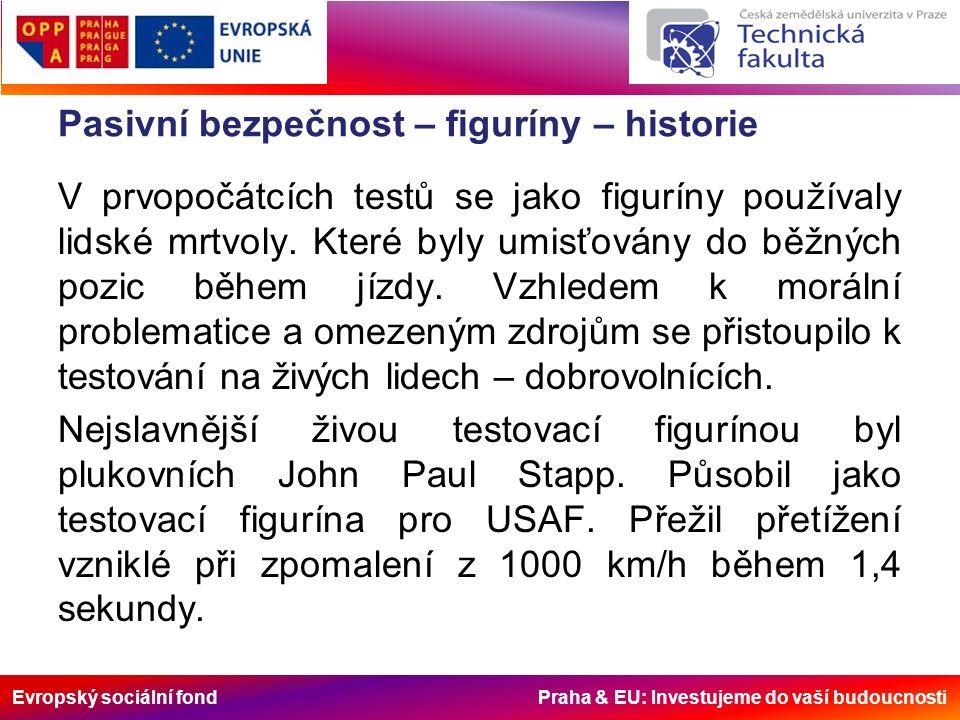 Evropský sociální fond Praha & EU: Investujeme do vaší budoucnosti Pasivní bezpečnost – figuríny – historie V prvopočátcích testů se jako figuríny používaly lidské mrtvoly.