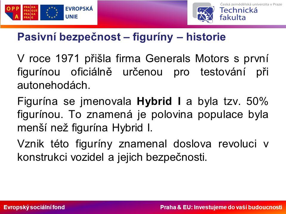 Evropský sociální fond Praha & EU: Investujeme do vaší budoucnosti Pasivní bezpečnost – figuríny – historie V roce 1971 přišla firma Generals Motors s první figurínou oficiálně určenou pro testování při autonehodách.