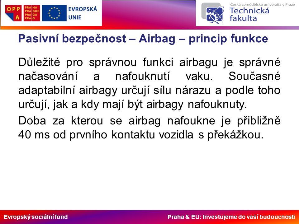 Evropský sociální fond Praha & EU: Investujeme do vaší budoucnosti Pasivní bezpečnost – Airbag – princip funkce Důležité pro správnou funkci airbagu je správné načasování a nafouknutí vaku.
