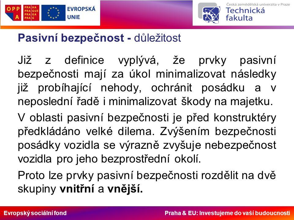 Evropský sociální fond Praha & EU: Investujeme do vaší budoucnosti Pasivní bezpečnost – stručná historie V posledních letech je kladen značný důraz na testování vozidel a jejich bezpečnost než tomu bylo v počátcích automobilového průmyslu.