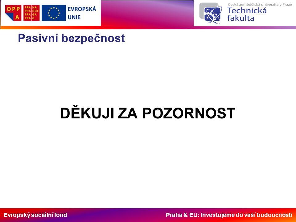 Evropský sociální fond Praha & EU: Investujeme do vaší budoucnosti Pasivní bezpečnost DĚKUJI ZA POZORNOST