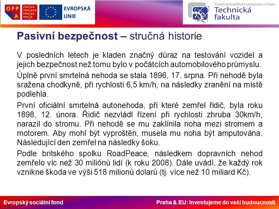 Evropský sociální fond Praha & EU: Investujeme do vaší budoucnosti Pasivní bezpečnost – stručná historie První použití bezpečnostního pásu je připisováno značce Volvo, která jej poprvé použila ve voze roku 1959.