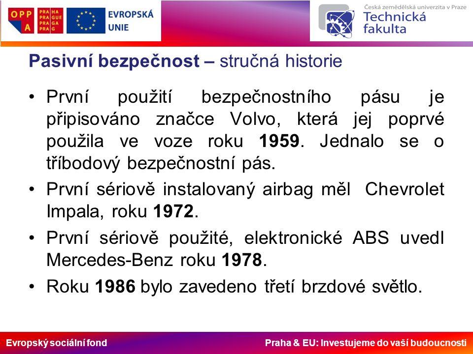 Evropský sociální fond Praha & EU: Investujeme do vaší budoucnosti Pasivní bezpečnost – současné trendy V současné době se vozidla testů podle metodiky Euro NCAP.