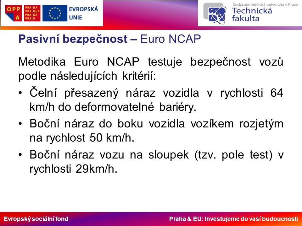 Evropský sociální fond Praha & EU: Investujeme do vaší budoucnosti Pasivní bezpečnost – Euro NCAP Dále metodika Euro NCAP testuje vozy podle dalších dvou kritérií: Test ohleduplnosti vůči chodcům- simulace střetu s chodcem v rychlosti 40km/h.