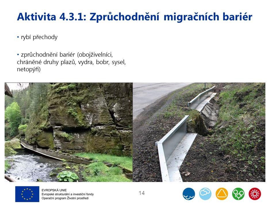 Aktivita 4.3.1: Zprůchodnění migračních bariér 14 rybí přechody zprůchodnění bariér (obojživelníci, chráněné druhy plazů, vydra, bobr, sysel, netopýři)