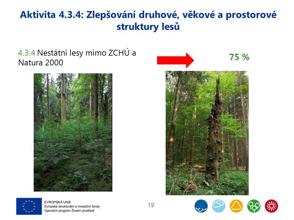 Aktivita 4.3.4: Zlepšování druhové, věkové a prostorové struktury lesů 19 4.3.4 Nestátní lesy mimo ZCHÚ a Natura 2000 75 %
