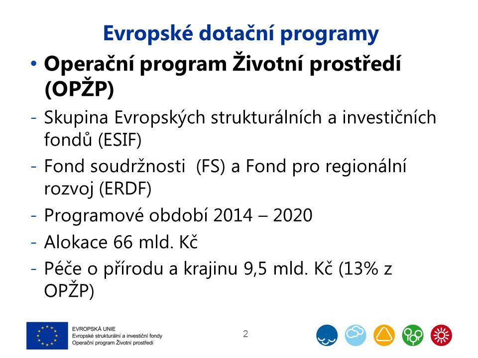 Evropské dotační programy Operační program Životní prostředí (OPŽP) -Skupina Evropských strukturálních a investičních fondů (ESIF) -Fond soudržnosti (FS) a Fond pro regionální rozvoj (ERDF) -Programové období 2014 – 2020 -Alokace 66 mld.