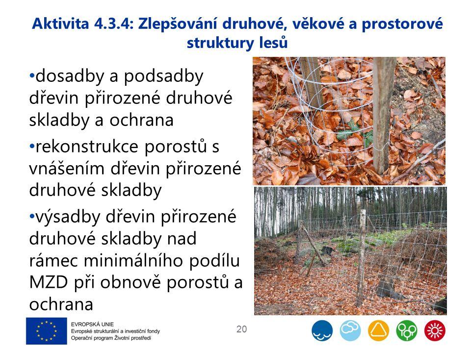 dosadby a podsadby dřevin přirozené druhové skladby a ochrana rekonstrukce porostů s vnášením dřevin přirozené druhové skladby výsadby dřevin přirozené druhové skladby nad rámec minimálního podílu MZD při obnově porostů a ochrana 20 Aktivita 4.3.4: Zlepšování druhové, věkové a prostorové struktury lesů
