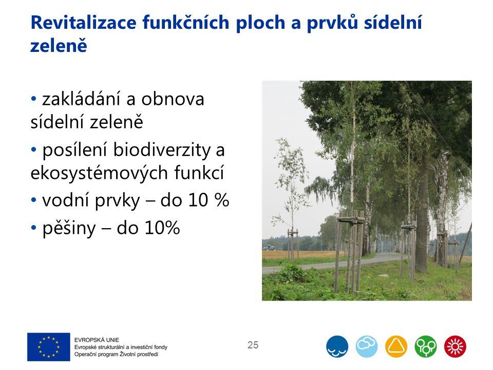 Revitalizace funkčních ploch a prvků sídelní zeleně zakládání a obnova sídelní zeleně posílení biodiverzity a ekosystémových funkcí vodní prvky – do 10 % pěšiny – do 10% 25