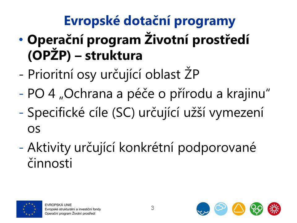 """Evropské dotační programy Operační program Životní prostředí (OPŽP) – struktura - Prioritní osy určující oblast ŽP -PO 4 """"Ochrana a péče o přírodu a krajinu -Specifické cíle (SC) určující užší vymezení os -Aktivity určující konkrétní podporované činnosti 3"""