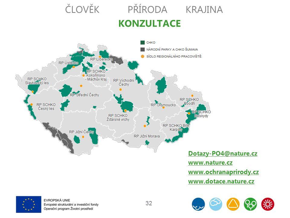 32 Dotazy-PO4@nature.cz www.nature.cz www.ochranaprirody.cz www.dotace.nature.cz ČLOVĚKPŘÍRODAKRAJINA KONZULTACE
