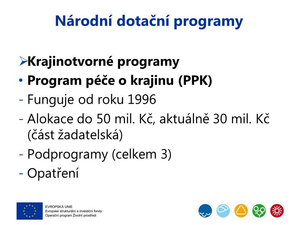 Národní dotační programy  Krajinotvorné programy Program péče o krajinu (PPK) -Funguje od roku 1996 -Alokace do 50 mil.