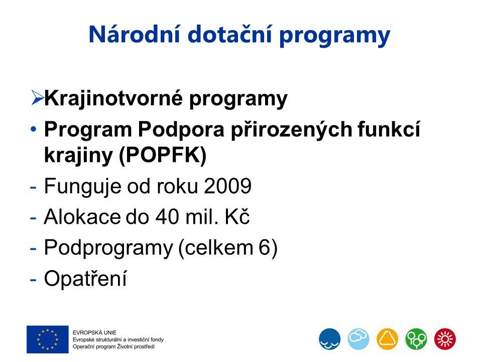 Národní dotační programy  Krajinotvorné programy Program Podpora přirozených funkcí krajiny (POPFK) -Funguje od roku 2009 -Alokace do 40 mil.