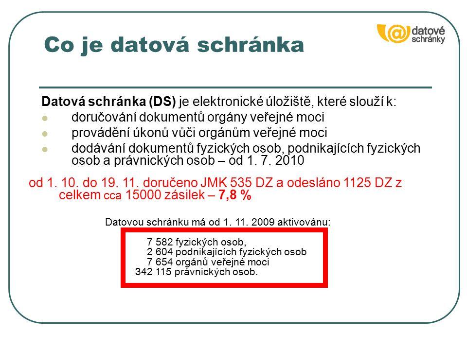 Co je datová schránka Datová schránka (DS) je elektronické úložiště, které slouží k: doručování dokumentů orgány veřejné moci provádění úkonů vůči org