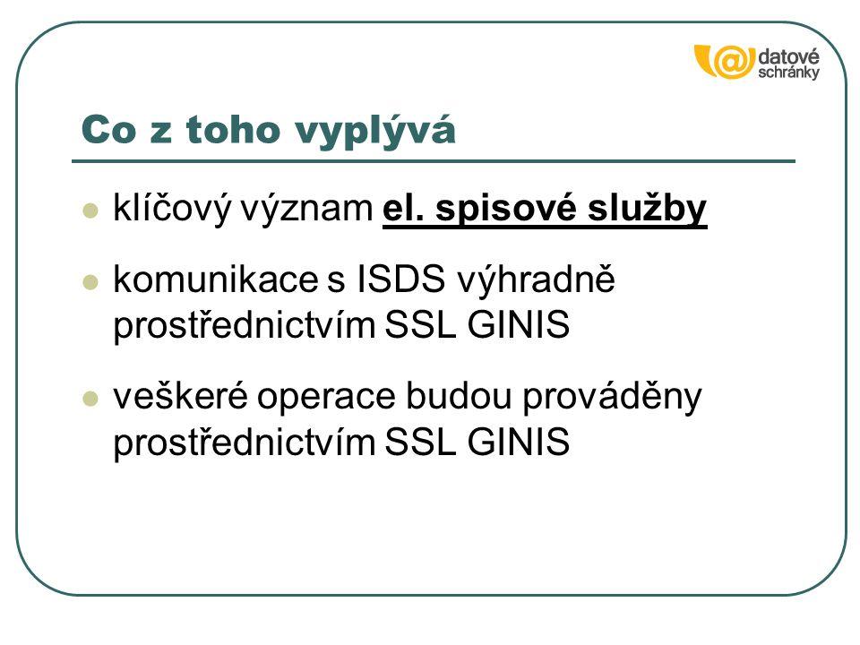 klíčový význam el. spisové služby komunikace s ISDS výhradně prostřednictvím SSL GINIS veškeré operace budou prováděny prostřednictvím SSL GINIS Co z