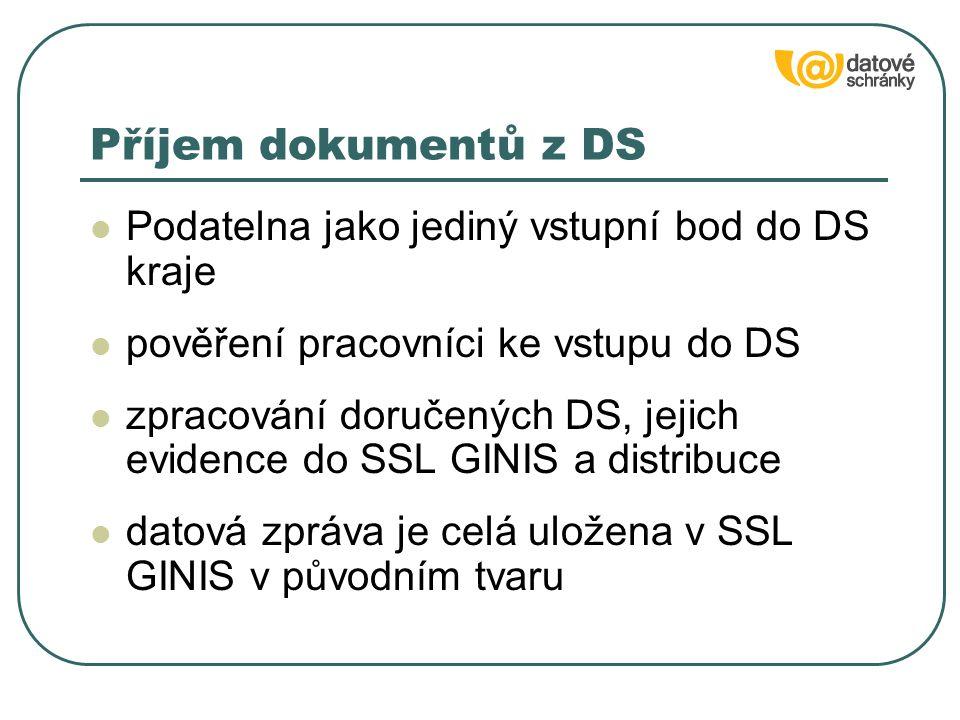 Podatelna jako jediný vstupní bod do DS kraje pověření pracovníci ke vstupu do DS zpracování doručených DS, jejich evidence do SSL GINIS a distribuce datová zpráva je celá uložena v SSL GINIS v původním tvaru Příjem dokumentů z DS