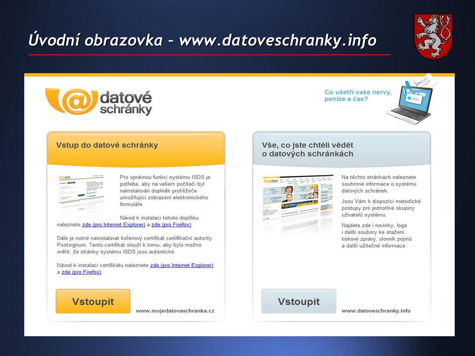 Úvodní obrazovka – www.datoveschranky.info