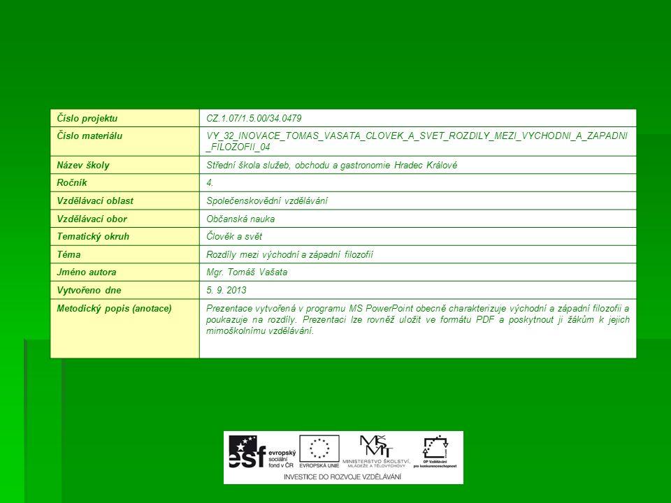 Číslo projektuCZ.1.07/1.5.00/34.0479 Číslo materiáluVY_32_INOVACE_TOMAS_VASATA_CLOVEK_A_SVET_ROZDILY_MEZI_VYCHODNI_A_ZAPADNI _FILOZOFII_04 Název školyStřední škola služeb, obchodu a gastronomie Hradec Králové Ročník4.