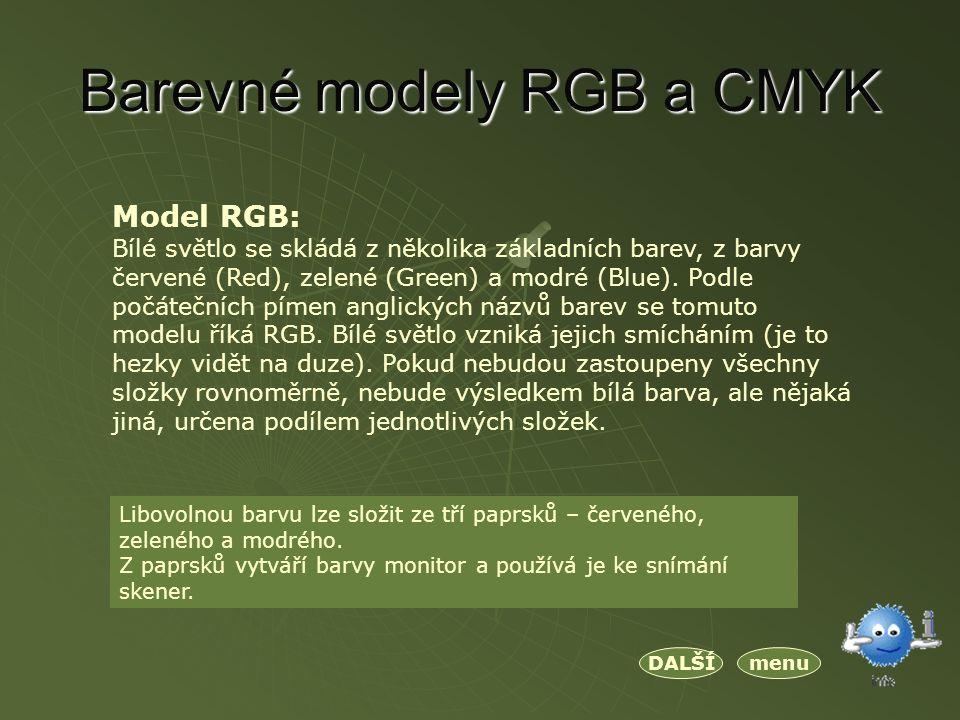 Barevné modely RGB a CMYK Model RGB: Bílé světlo se skládá z několika základních barev, z barvy červené (Red), zelené (Green) a modré (Blue).