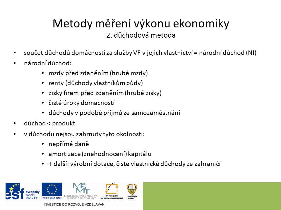 Metody měření výkonu ekonomiky 2. důchodová metoda součet důchodů domácností za služby VF v jejich vlastnictví = národní důchod (NI) národní důchod: m