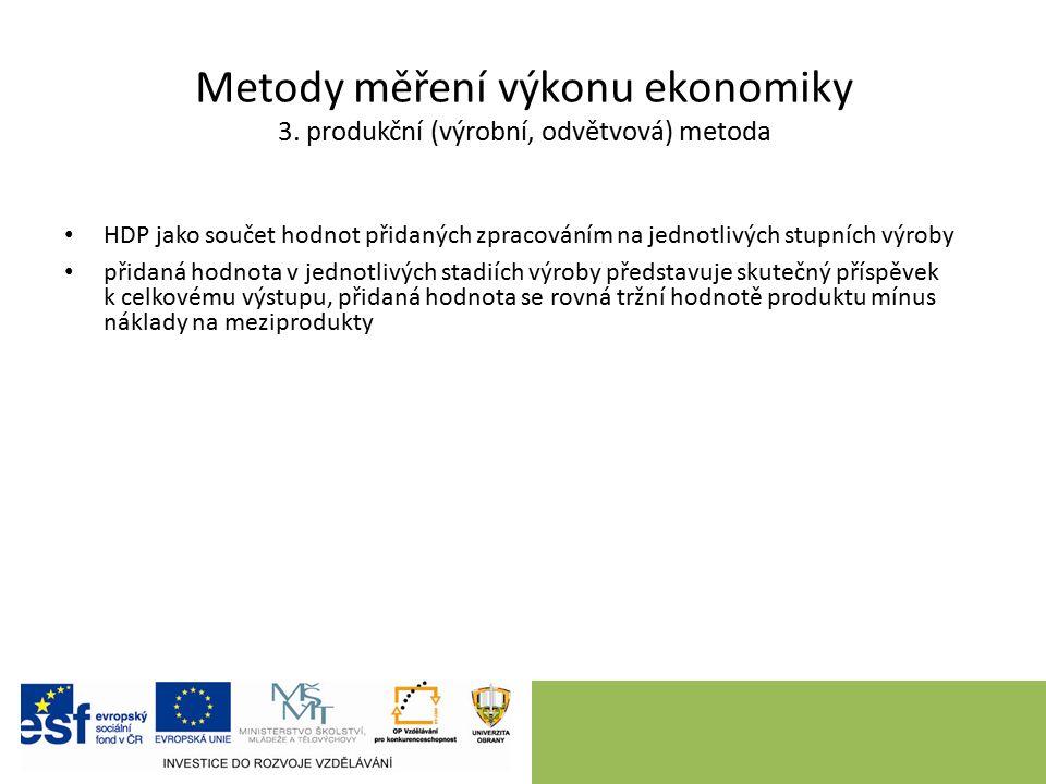 Metody měření výkonu ekonomiky 3. produkční (výrobní, odvětvová) metoda HDP jako součet hodnot přidaných zpracováním na jednotlivých stupních výroby p