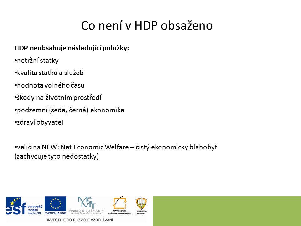 Co není v HDP obsaženo HDP neobsahuje následující položky: netržní statky kvalita statků a služeb hodnota volného času škody na životním prostředí pod